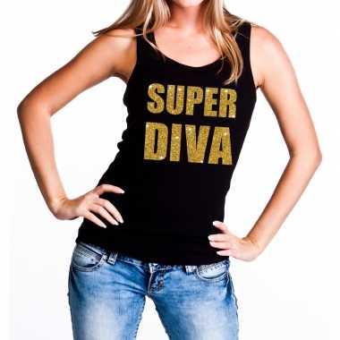 Super diva fun tanktop / mouwloos shirt zwart voor dames