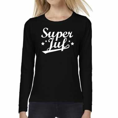 Super juf cadeau t-shirt long sleeve zwart voor voor dames