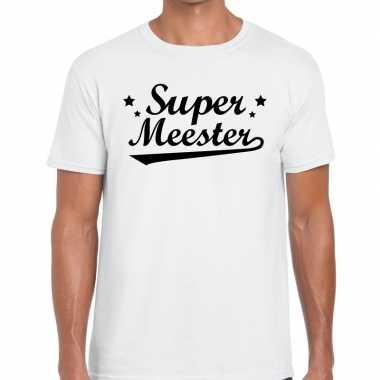 Super meester fun t-shirt wit voor heren