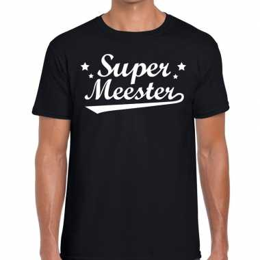 Super meester fun t-shirt zwart voor heren