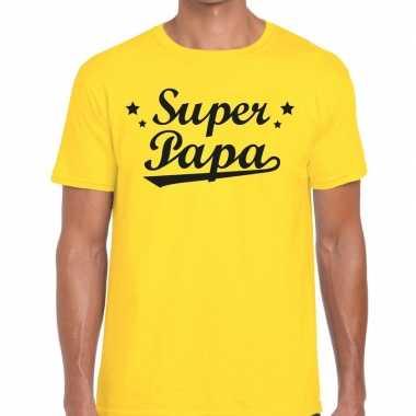 Super papa fun t-shirt geel voor heren