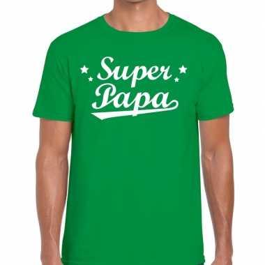 Super papa fun t-shirt groen voor heren