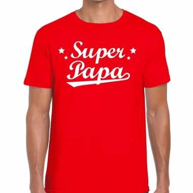Super papa fun t-shirt rood voor heren