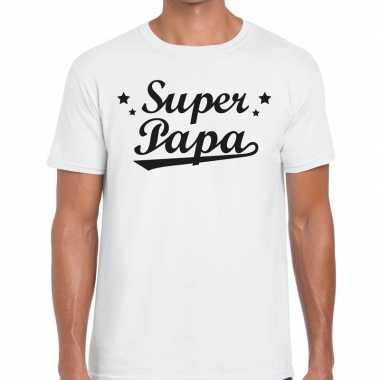Super papa fun t-shirt wit voor heren