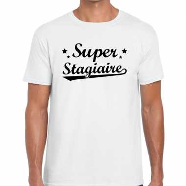 Super stagiaire fun t-shirt wit voor heren - bedankt cadeau voor een