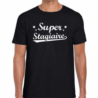 Super stagiaire fun t-shirt zwart voor heren - bedankt cadeau voor ee