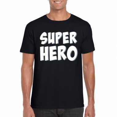 Superhero fun t-shirt zwart voor heren