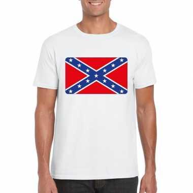 T shirt amerikaanse zuidelijke staten rebel vlag wit heren