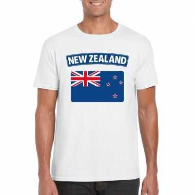 T-shirt nieuw zeelandse vlag wit heren