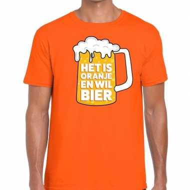 T-shirt oranje met tekst het is oranje en wil bier heren