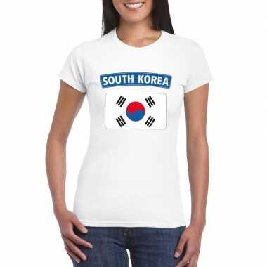 T shirt zuid koreaanse vlag wit dames