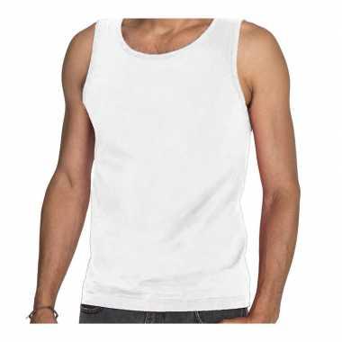 Tanktop / mouwloos t-shirt / singlet wit voor heren fruit of the loom