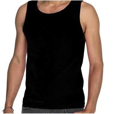 Tanktop / mouwloos t-shirt / singlet zwart voor heren fruit of the loom