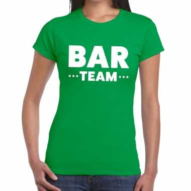 Team t-shirt groen met bar team bedrukking voor dames