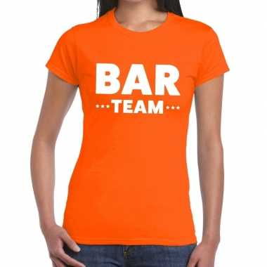 Team t-shirt oranje met bar team bedrukking voor dames