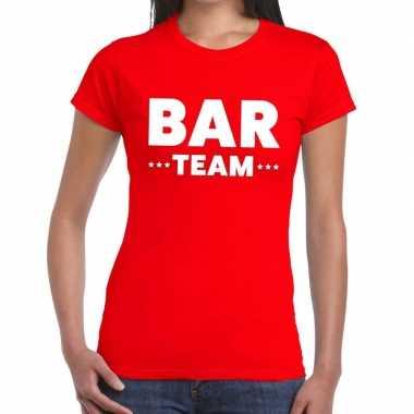 Team t-shirt rood met bar team bedrukking voor dames