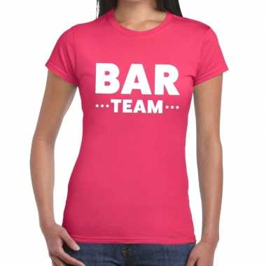 Team t-shirt roze met bar team bedrukking voor dames