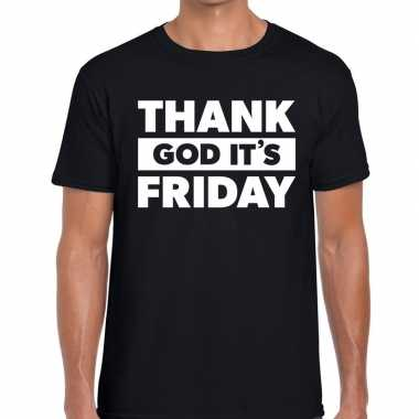 Thank god it is friday fun t-shirt zwart voor heren