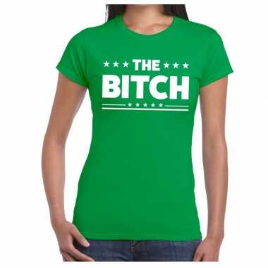 The bitch fun t-shirt groen voor dames