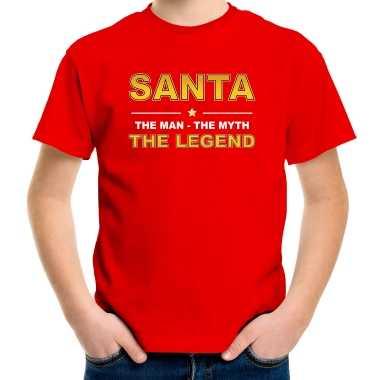 The man, the myth the legend santa t-shirt rood voor kinderen