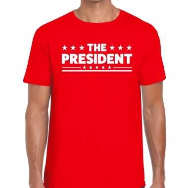 The president fun t-shirt voor heren rood