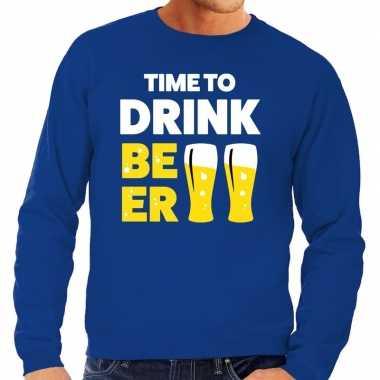 Time to drink beer fun sweater blauw voor heren