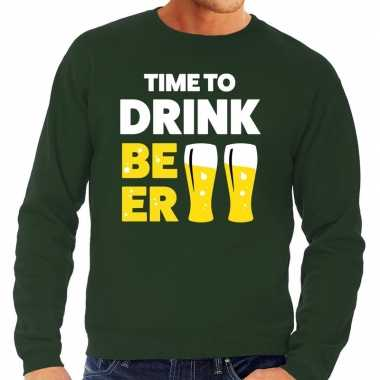 Time to drink beer fun sweater groen voor heren