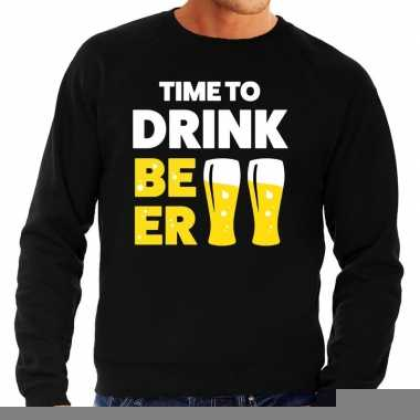 Time to drink beer fun sweater zwart voor heren