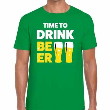 Time to drink beer fun t-shirt groen voor heren