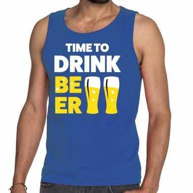 Time to drink beer fun tanktop / mouwloos shirt blauw voor heren
