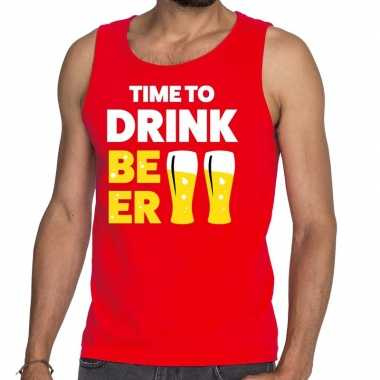 Time to drink beer fun tanktop / mouwloos shirt rood voor heren