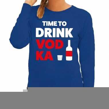 Time to drink vodka fun sweater blauw voor dames