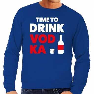 Time to drink vodka fun sweater blauw voor heren