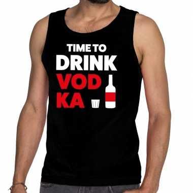 Time to drink vodka fun tanktop / mouwloos shirt zwart voor heren