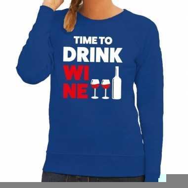 Time to drink wine fun sweater blauw voor dames