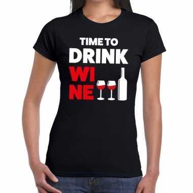 Time to drink wine fun t-shirt zwart voor dames