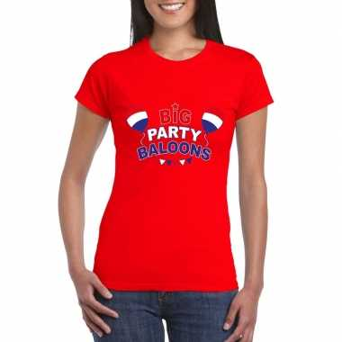 Toppers big party balloons t-shirt rood dames