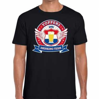 Toppers drinking team shirt zwart heren