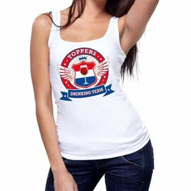 Toppers drinking team tanktop / mouwloos shirt wit dames