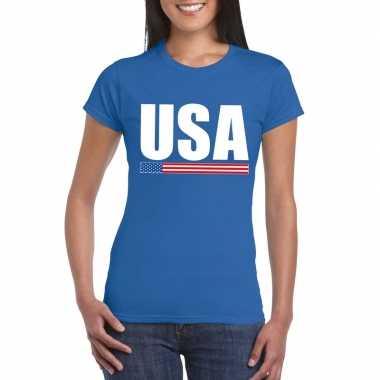 Usa / amerika supporter t-shirt blauw voor dames
