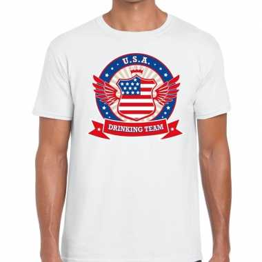 Usa drinking team t-shirt wit heren