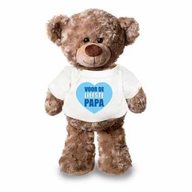 Vaderdag liefste papa knuffelbeer wit shirtje 24 cm
