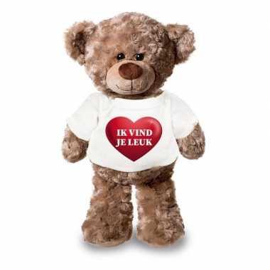 Valentijn ik vind je leuk knuffelbeer met hartje 24 cm