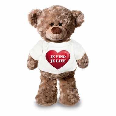 Valentijn ik vind je lief knuffelbeer met hartje 24 cm