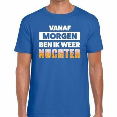 Vanaf morgen ben ik weer nuchter fun t-shirt blauw voor heren