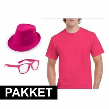 Verkleed pakket voor mannen roze