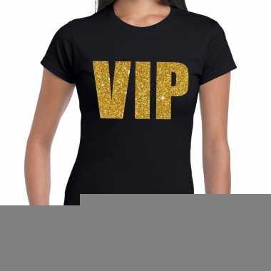 Vip fun t-shirt zwart met goud voor dames