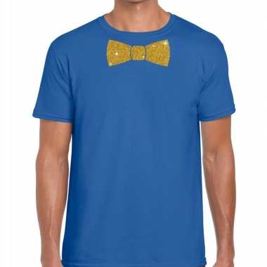 Vlinderdas t-shirt blauw met glitter das heren