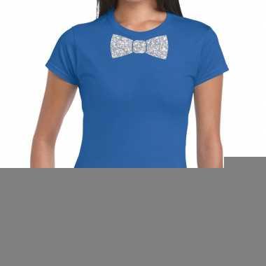 Vlinderdas t-shirt blauw met zilveren glitter strikje dames