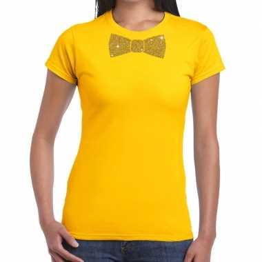 Vlinderdas t-shirt geel met glitter das dames